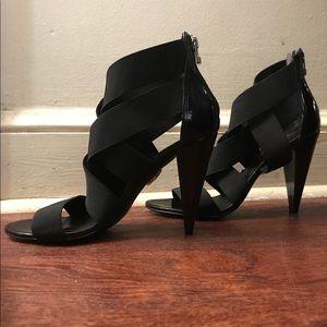 Pour La Victoire Black Elastic Strap Heels Sandals